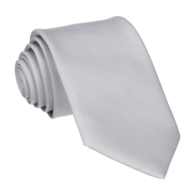 Plain Solid Platinum Grey Tie