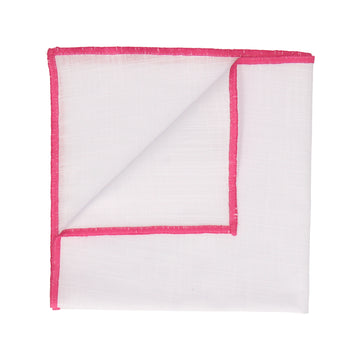 Pink Edge White Cotton Handkerchief