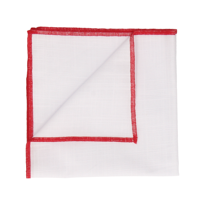 Red Edge White Cotton Handkerchief