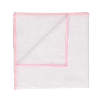 Light Pink Edge White Cotton Handkerchief