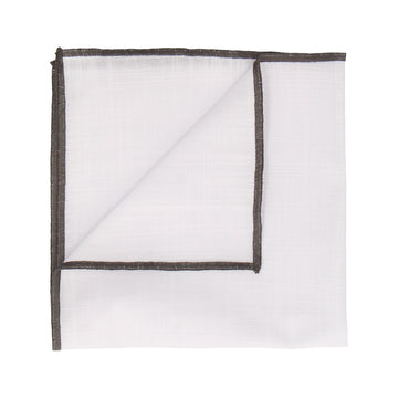 Grey Edge White Cotton Handkerchief