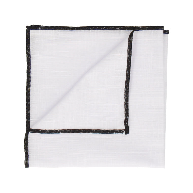 Black Edge White Cotton Handkerchief