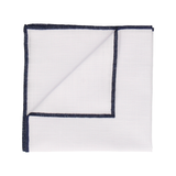 Navy Blue Edge White Cotton Handkerchief