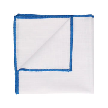 Blue Edge White Cotton Handkerchief