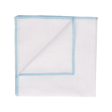 Light Blue Edge White Cotton Handkerchief