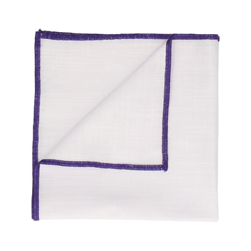 Purple Edge White Cotton Handkerchief