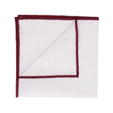 Burgundy Edge White Cotton Handkerchief