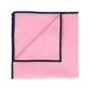 Clooney in Pink with Navy Blue Edge Handkerchief
