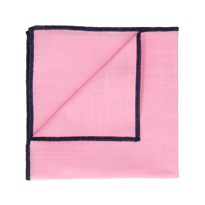 Navy Blue Edge Pink Cotton Handkerchief