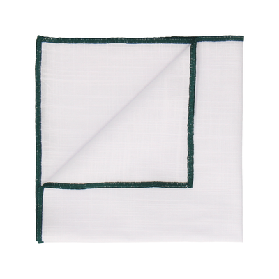 Dark Green Edge White Cotton Handkerchief