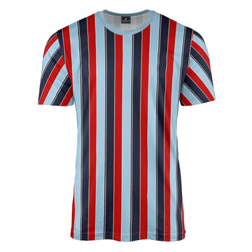 Retro Stripe Print T-Shirt (Navy/Blue/Red)