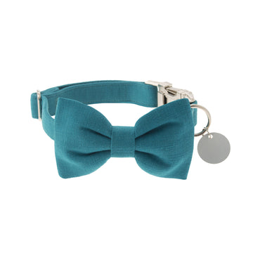 Turquoise Plain Textured Cotton Dog Collar