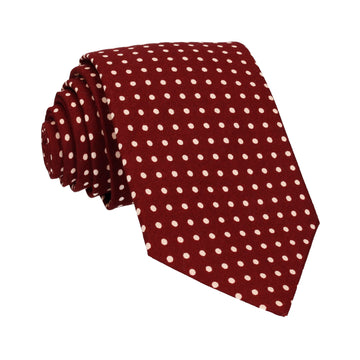 Burgundy Red Polka Dots Cotton Tie