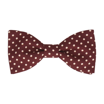 Burgundy Red Polka Dots Cotton Bow Tie