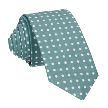 Sea Green Polka Dots Cotton Tie