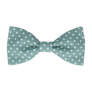 Sea Green Polka Dots Cotton Bow Tie