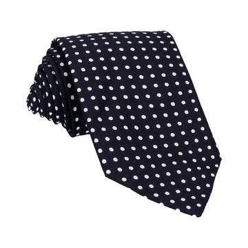 Navy Blue Polka Dots Cotton Tie