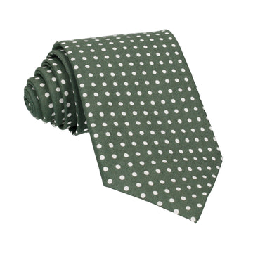 Fennel Green Polka Dots Cotton Tie