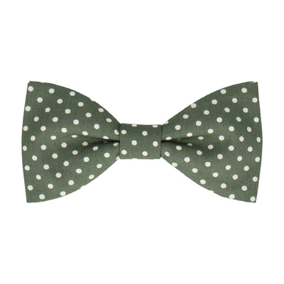 Fennel Green Polka Dots Cotton Bow Tie