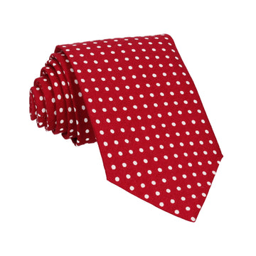 Cranberry Red Polka Dots Cotton Tie