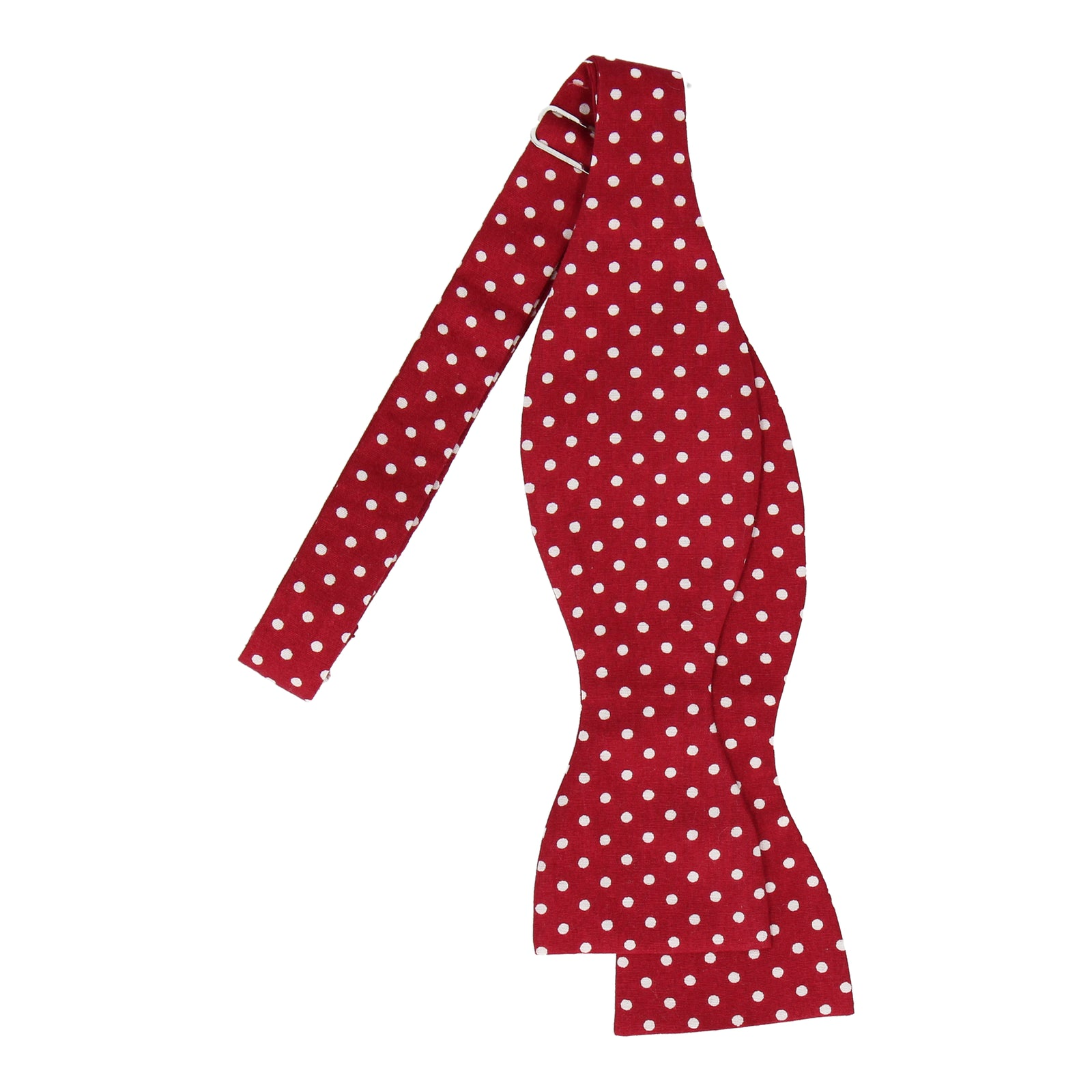 Cranberry Red Polka Dots Cotton Bow Tie