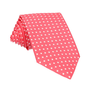 Coral Polka Dots Cotton Tie