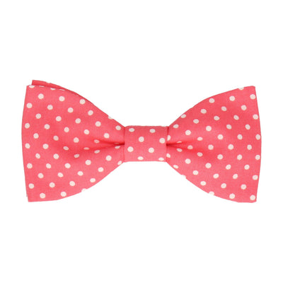 Coral Polka Dots Cotton Bow Tie