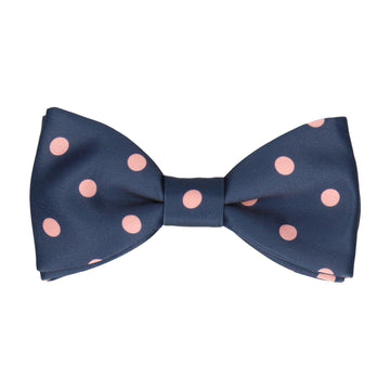 Coral Polka Dots Navy Blue Bow Tie