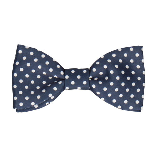 White Dots in Navy Blue Bow Tie
