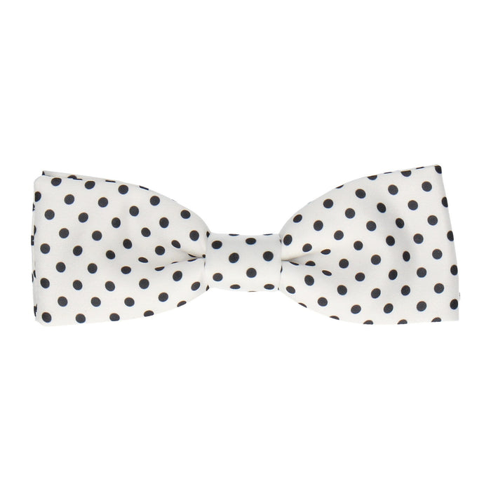 Black Dots in White Bow Tie -Batwing-Pre-Tie- - bowties by Mrs Bow Tie