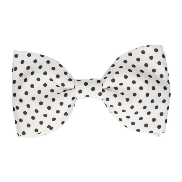 Black Dots in White Bow Tie -Large-Pre-Tie- - bowties by Mrs Bow Tie