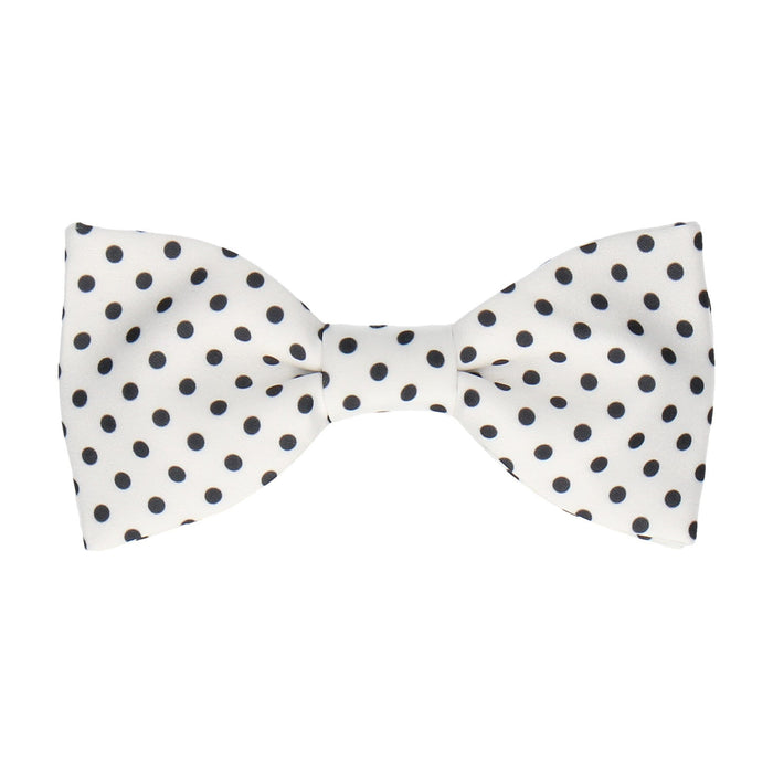 Black Dots in White Bow Tie -Standard-Pre-Tie- - bowties by Mrs Bow Tie