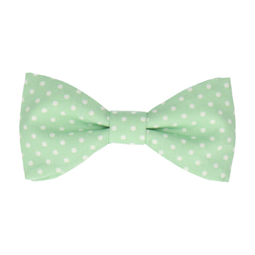 Light Green Polka Dots Cotton Bow Tie