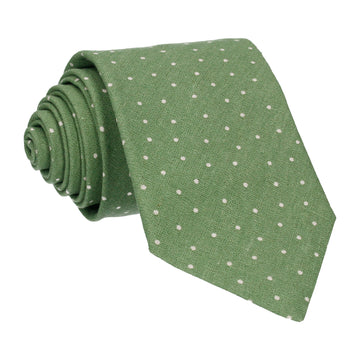 Green Dots Cotton Linen Tie