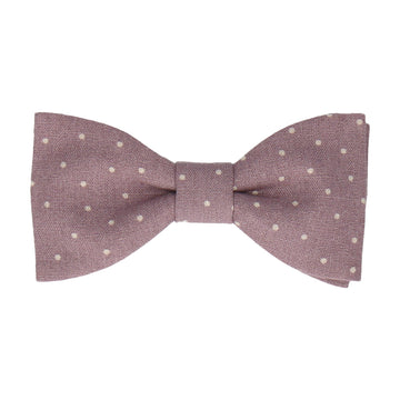 Dusky Purple Dots Cotton Linen Bow Tie