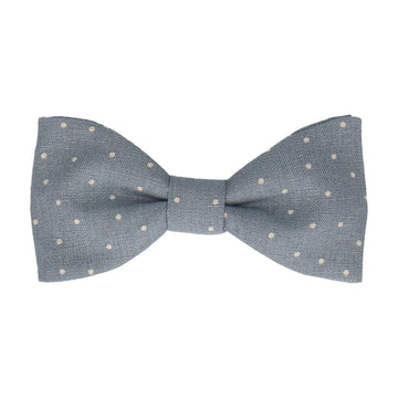 Dusty Blue Dots Cotton Linen Bow Tie