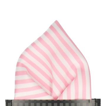 Pink & White Diagonal Stripes Pocket Square