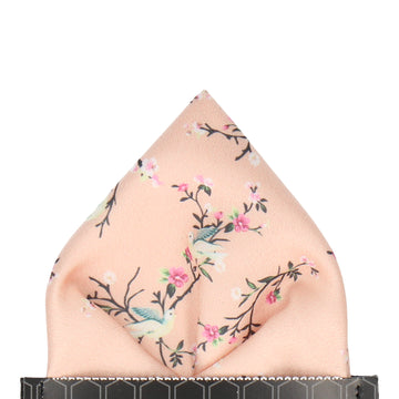 Light Peach Chinoiserie Floral Pocket Square