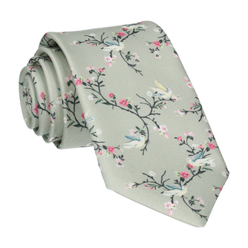 Sage Green Chinoiserie Floral Tie