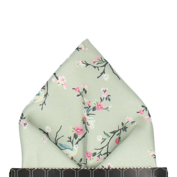 Sage Green Chinoiserie Floral Pocket Square