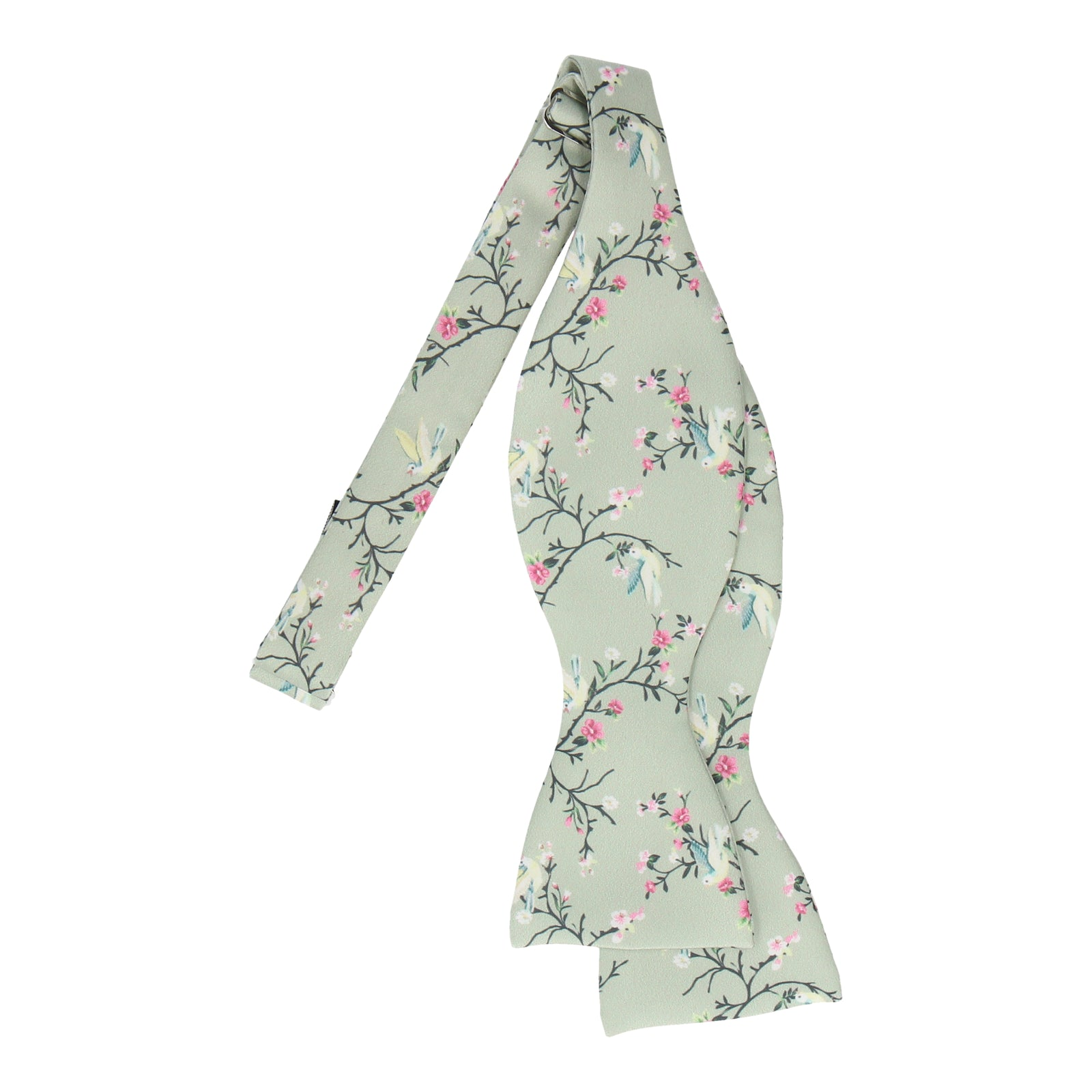 Sage Green Chinoiserie Floral Bow Tie