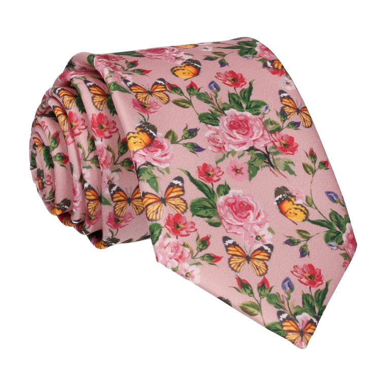 Pink Butterfly Roses Summer Wedding Tie