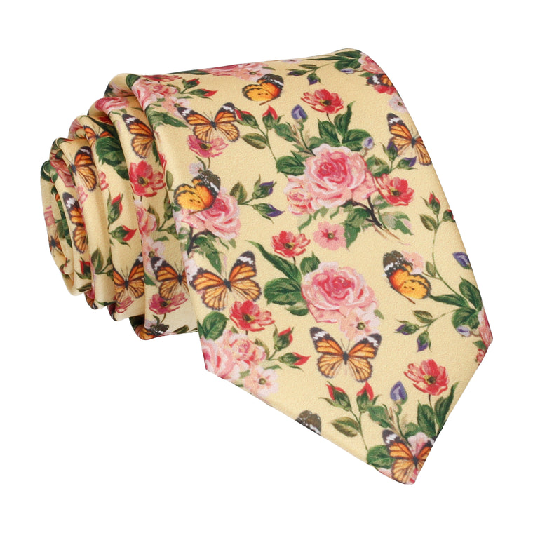 Yellow Butterfly Roses Summer Wedding Tie