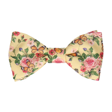 Yellow Butterfly Roses Summer Wedding Bow Tie