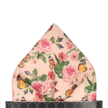 Peach Butterfly Roses Summer Wedding Pocket Square