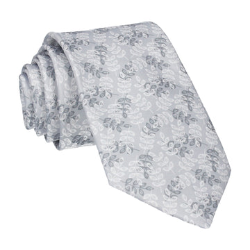 Leaf Print Platinum Grey Tie