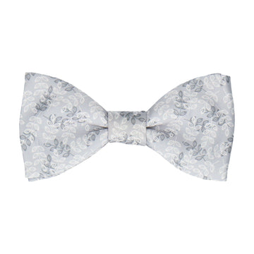 Leaf Print Platinum Grey Bow Tie