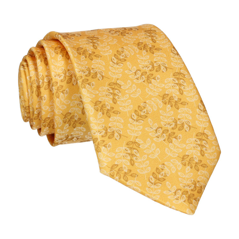 Leaf Print Yellow Tie