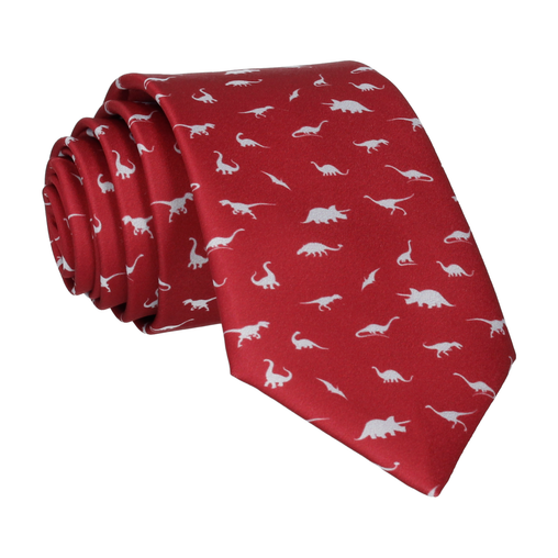 Dinosaurs in Burgundy and Grey Tie