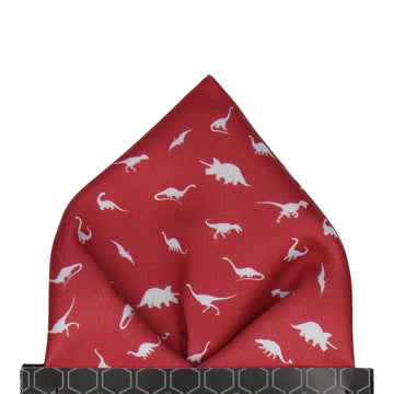 Burgundy & Grey Dinosaur Pocket Square